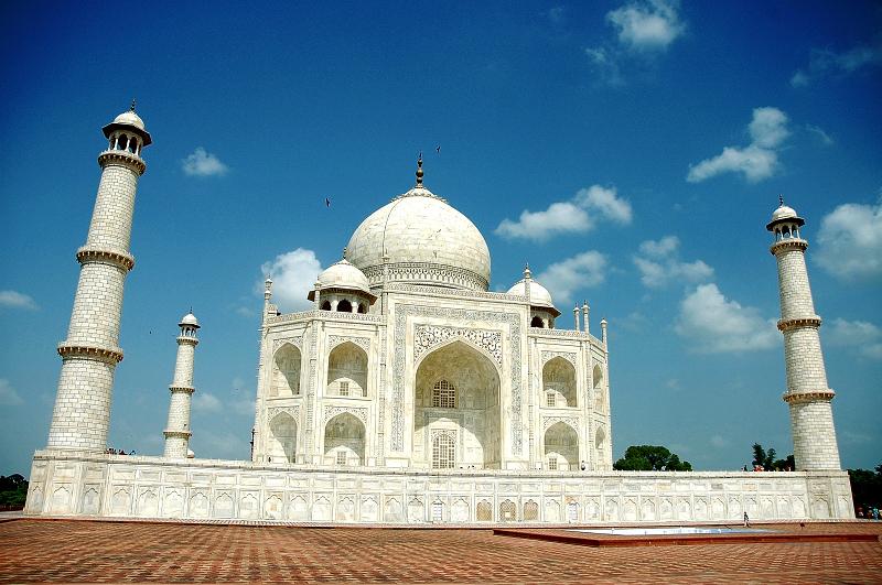Fantastic view of the white marbled Taj Mahal , Agra
