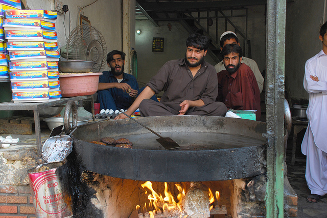 Chapli Kebab is shaped in flat patty and cooked in animal's fats on a large horizontal griddle. Image by Qazi Ikram ul haq