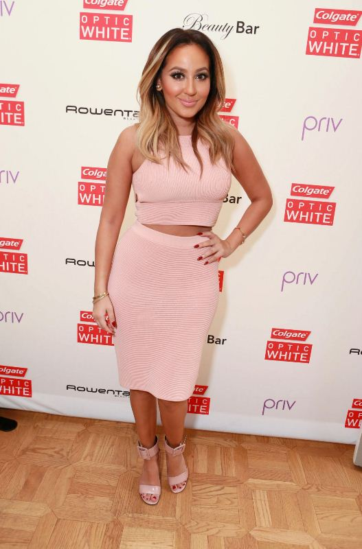 adrienne-bailon-colgate-optic-white-beauty-bar-los-angeles-jonathan-simkhai-ribbed-crop-top-pencil-skirt