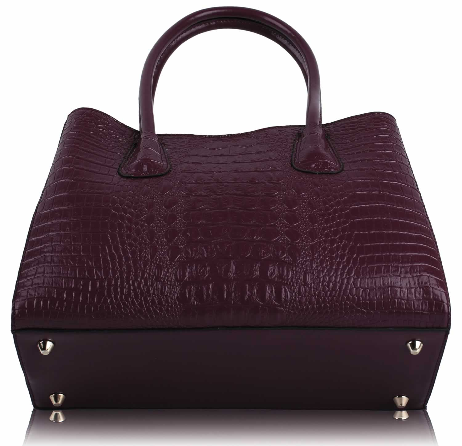 4848a179f0ff ladies-vintage-burgundy-red-faux-croc-leather-bag-womens-shoulder-handbag -kcmode- 3 -45070-p