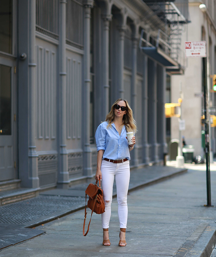 white denim outfit inspiration - brooklyn blonde