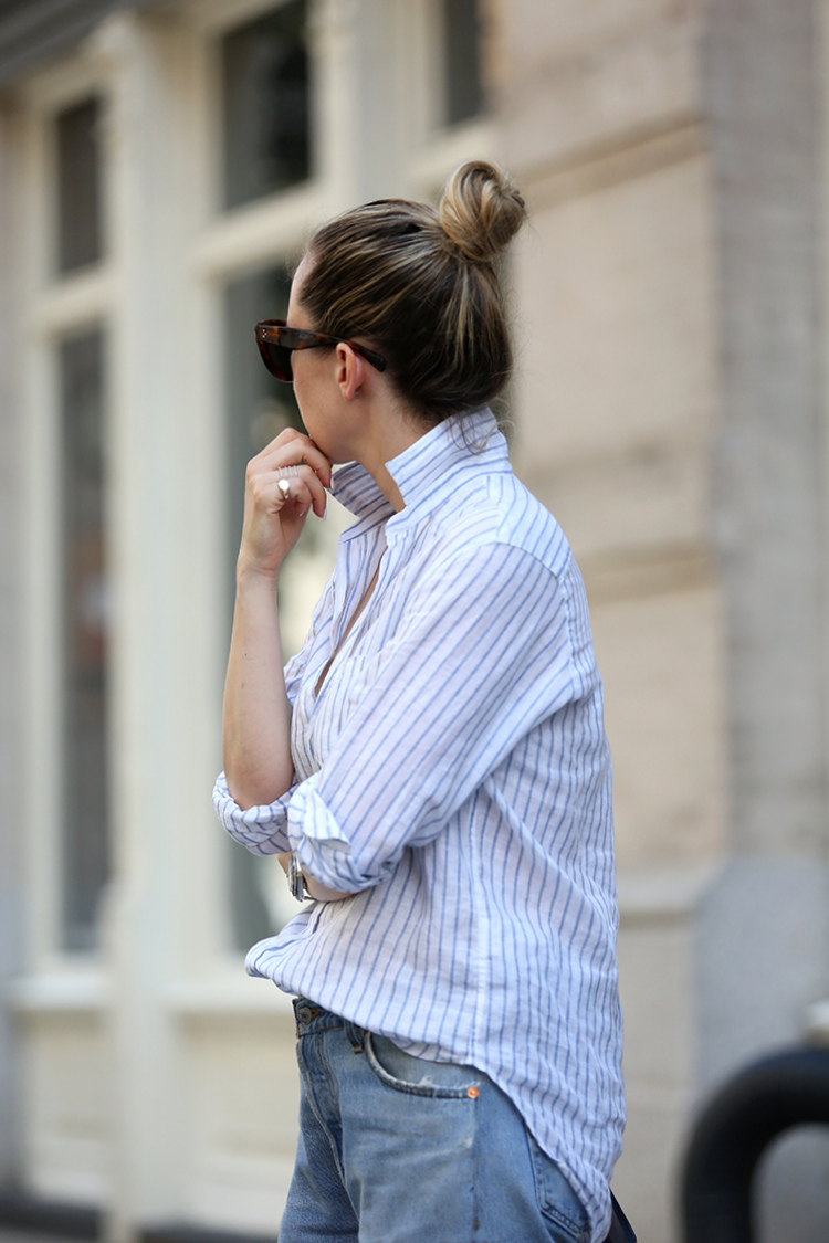 casual summer style - top knot and frank & eileen button down - brooklyn blonde