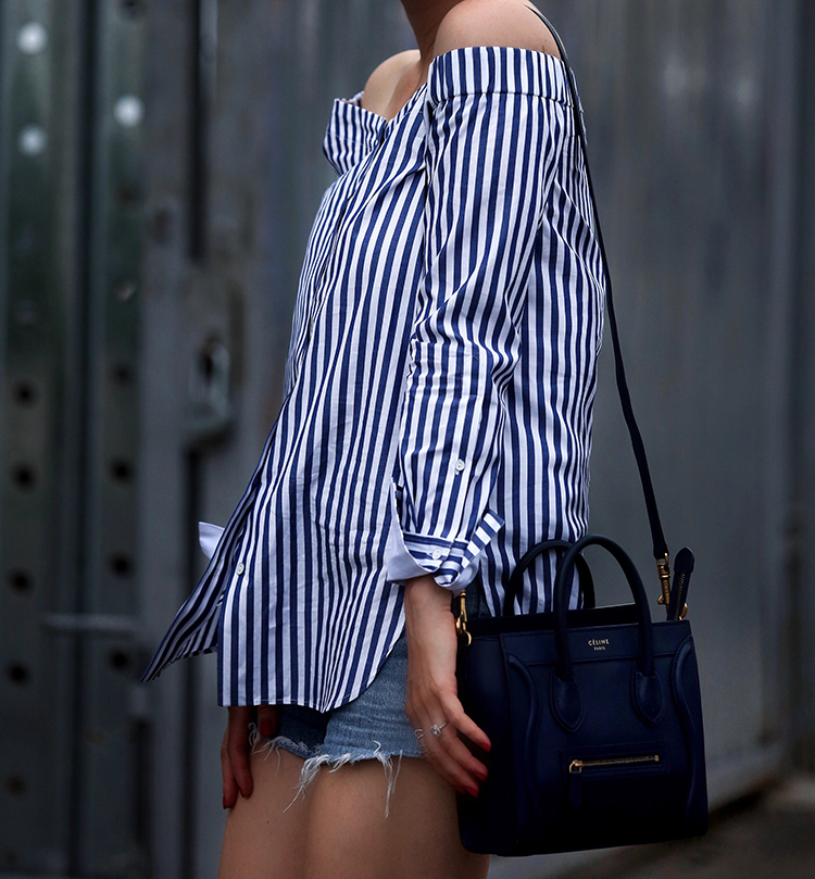 Rag & Bone Off the Shoulder and navy Celine nano bag