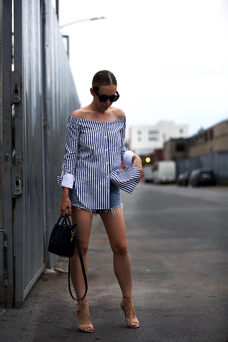 Rag & Bone Striped Off the Shoulder Top and denim cut off shorts