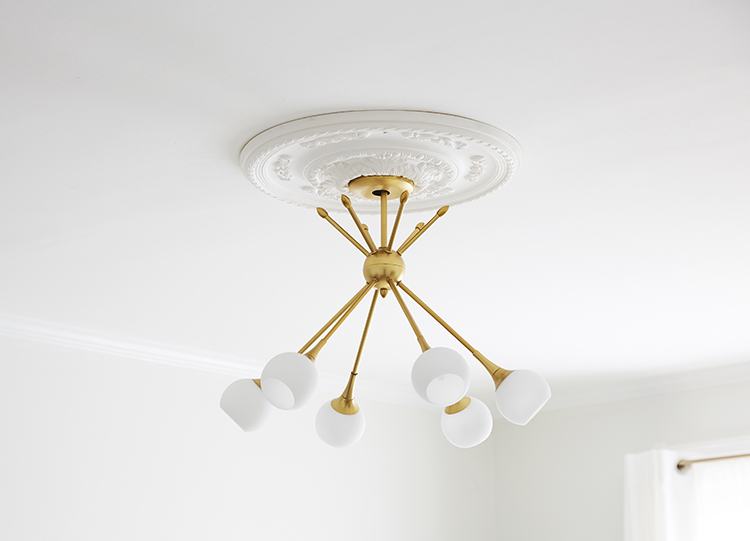 Brass and white light fixture and medallion - Brooklyn Blonde
