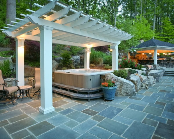 Attractive This One Of A Kind Outdoor Jacuzzi Design Will Light Up The Mood In  Anyoneu0027s Backyard. As You Can See Thereu0027s An Outdoor Area, That Has Also  Been ...